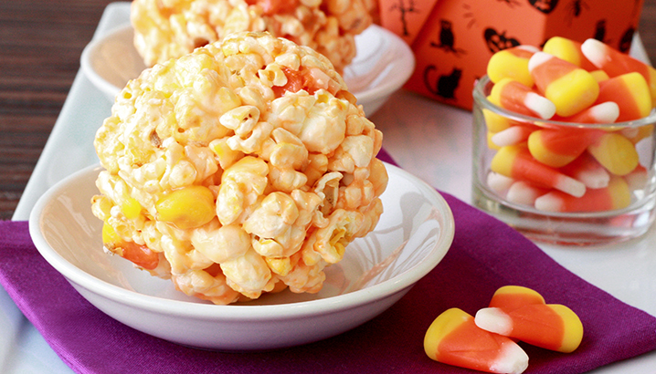 Hungry-Girl Video: How To… Make Candy Corn Popcorn Balls